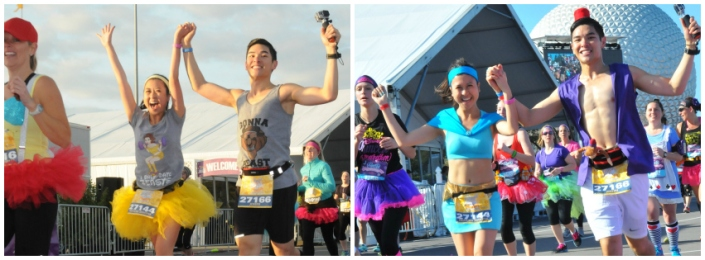 Modern athletic-esque twist of Beauty and the Beast for the Enchanted 10K and Jasmine and Aladdin for the Princess Half.